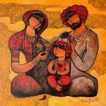 Figurative Acrylic Art Painting title Family 5 by artist Ramesh Gujar