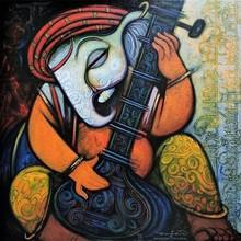 Religious Acrylic Art Painting title Ganesha by artist Ramesh Gujar