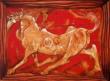 Animals Acrylic Art Painting title Horse by artist Ramesh Gujar