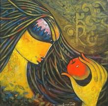 Figurative Acrylic Art Painting title Lady by artist Ramesh Gujar