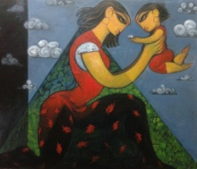 Figurative Acrylic Art Painting title 'Love Of Nature' by artist Ramesh Gujar