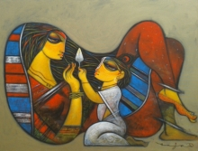 Ramesh Gujar | Acrylic Painting title Mother And Child on Canvas | Artist Ramesh Gujar Gallery | ArtZolo.com