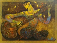 Figurative Acrylic Art Painting title 'Music' by artist Ramesh Gujar