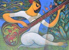 Figurative Acrylic Art Painting title Sitar Vadan 2 by artist Ramesh Gujar