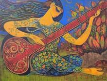 Figurative Acrylic Art Painting title 'Sitar Vadan 6' by artist Ramesh Gujar