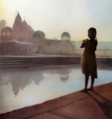Nilesh Bharti | Dry-pastel Painting title Looking At Ganga on Paper | Artist Nilesh Bharti Gallery | ArtZolo.com