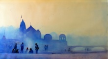 Cityscape Watercolor Art Painting title 'Blue Morning II' by artist Nilesh Bharti