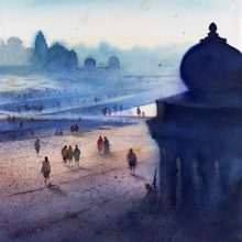Cityscape Watercolor Art Painting title 'Ganga Ghat 2' by artist Nilesh Bharti