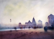 Cityscape Dry-pastel Art Painting title 'Ganga Ghat 6' by artist Nilesh Bharti