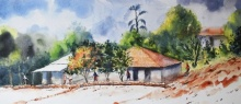 Landscape Watercolor Art Painting title 'Untitled' by artist Ramdas Thorat