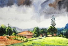 Village 2 | Painting by artist Ramdas Thorat | watercolor | Paper