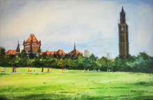 Cityscape Watercolor Art Painting title 'University Of Mumbai' by artist Ramdas Thorat