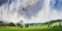 Landscape Watercolor Art Painting title 'Splashing Clouds' by artist Ramdas Thorat