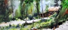 Landscape Watercolor Art Painting title 'Bright Path' by artist Ramdas Thorat