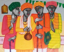 Figurative Acrylic Art Painting title 'Pandit' by artist Dhan Prasad