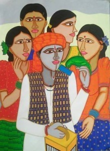 Figurative Acrylic Art Painting title 'Fortune Teller' by artist Dhan Prasad