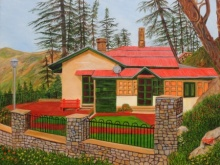 Ajay Harit | Oil Painting title Dream House In Shimla on Canvas | Artist Ajay Harit Gallery | ArtZolo.com