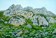 Ajay Harit | Oil Painting title Grey Mountains on Canvas | Artist Ajay Harit Gallery | ArtZolo.com