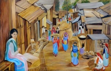 Ajay Harit | Oil Painting title Market Scene on Canvas | Artist Ajay Harit Gallery | ArtZolo.com