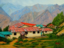 Landscape Oil Art Painting title 'Rising High' by artist Ajay Harit