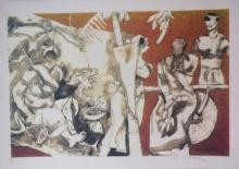 M F Husain | Serigraphs Painting title Kerala Series 1 on Paper | Artist M F Husain Gallery | ArtZolo.com