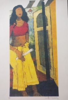 M F Husain | Serigraphs Painting title Kerala Series 3 on Paper | Artist M F Husain Gallery | ArtZolo.com