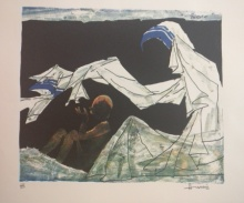 Expressionist Serigraphs Art Painting title 'Mother Teresa 1' by artist M F Husain
