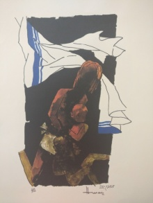 Expressionist Serigraphs Art Painting title 'Mother Teresa 2' by artist M F Husain