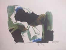 Expressionist Serigraphs Art Painting title 'Mother Teresa 3' by artist M F Husain