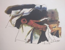 Expressionist Serigraphs Art Painting title 'Mother Teresa 4' by artist M F Husain