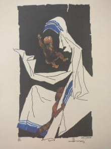 Expressionist Serigraphs Art Painting title 'Mother Teresa 7' by artist M F Husain