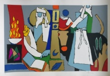 Expressionist Serigraphs Art Painting title 'Theorema Series 5' by artist M F Husain