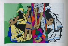 Expressionist Serigraphs Art Painting title 'Theorema Series 6' by artist M F Husain