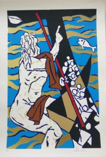 Expressionist Serigraphs Art Painting title 'Theorema Series 7' by artist M F Husain