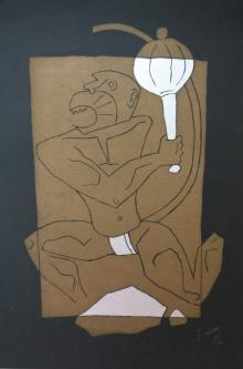 M F Husain | Serigraphs Painting title Hanuman on Paper | Artist M F Husain Gallery | ArtZolo.com