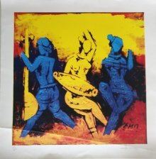 Expressionist Serigraphs Art Painting title 'Dancers' by artist M F Husain