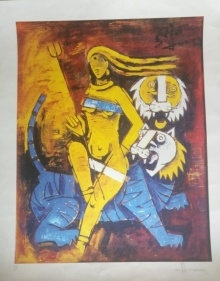 Expressionist Serigraphs Art Painting title 'Untitled 2' by artist M F Husain