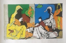 Expressionist Serigraphs Art Painting title 'Theorema Series 10' by artist M F Husain