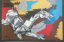 Expressionist Serigraphs Art Painting title 'Galloping Horse' by artist M F Husain