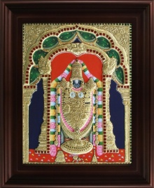 Traditional Indian art title Thirupathi Venkatachalapathi Tanjore on Plywood - Tanjore Paintings