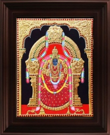 Traditional Indian art title Padmavathi Tanjore Painting 1 on Plywood - Tanjore Paintings