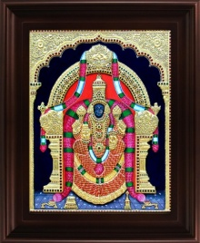 Traditional Indian art title Padmavathi Tanjore Painting 2 on Plywood - Tanjore Paintings