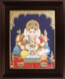 Traditional Indian art title Ganesha with Books Tanjore on Plywood - Tanjore Paintings