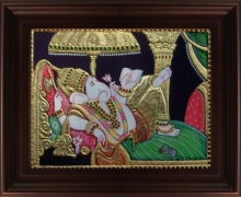 Traditional Indian art title Ganesha Reading Book Tanjore on Plywood - Tanjore Paintings