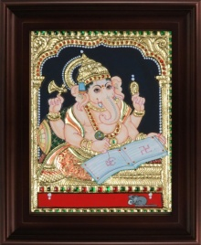 Traditional Indian art title Ganesha Writing Book Tanjore on Plywood - Tanjore Paintings