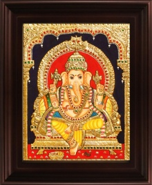 Traditional Indian art title Yellow Dhoti Ganesha Tanjore Painting on Plywood - Tanjore Paintings