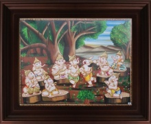 Traditional Indian art title Nava Vinayagar Tanjore Painting on Plywood - Tanjore Paintings