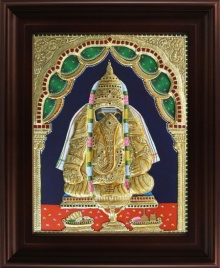 Traditional Indian art title Pillayarpatti Ganesha Tanjore Painting on Plywood - Tanjore Paintings