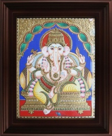 Traditional Indian art title Mantap Ganesha Tanjore Painting 3 on Plywood - Tanjore Paintings