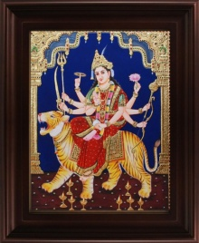 Traditional Indian art title Mahishasuramardini Tanjore Painting on Plywood - Tanjore Paintings